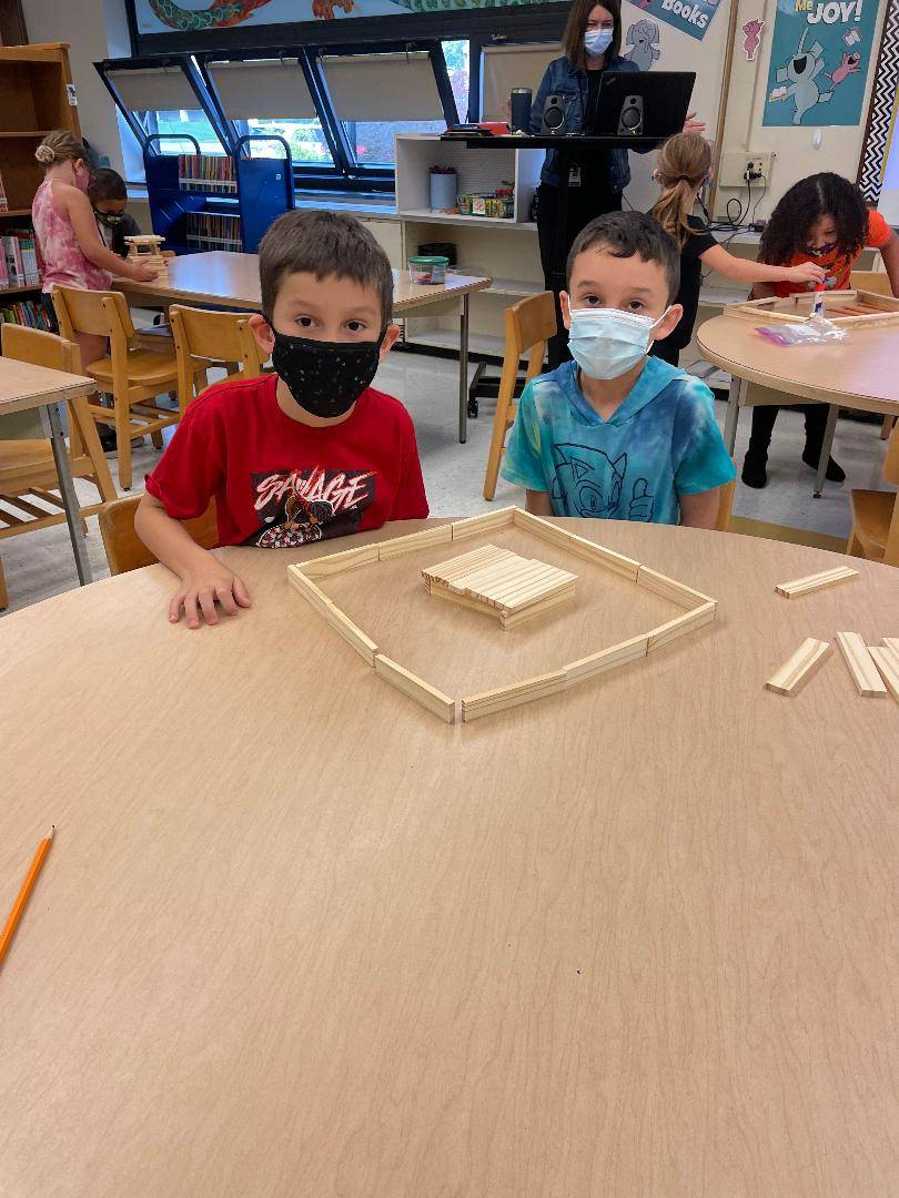 Students participating in Library STEM project
