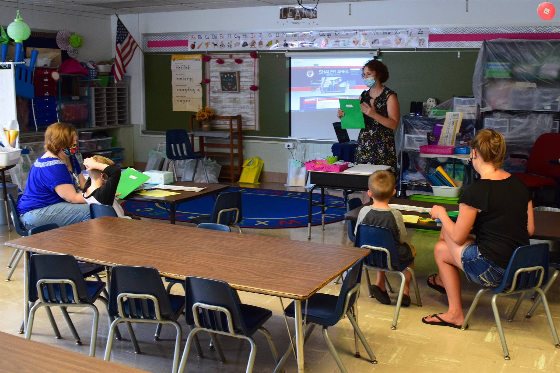 kindergarten students in class for first day of in-person learning