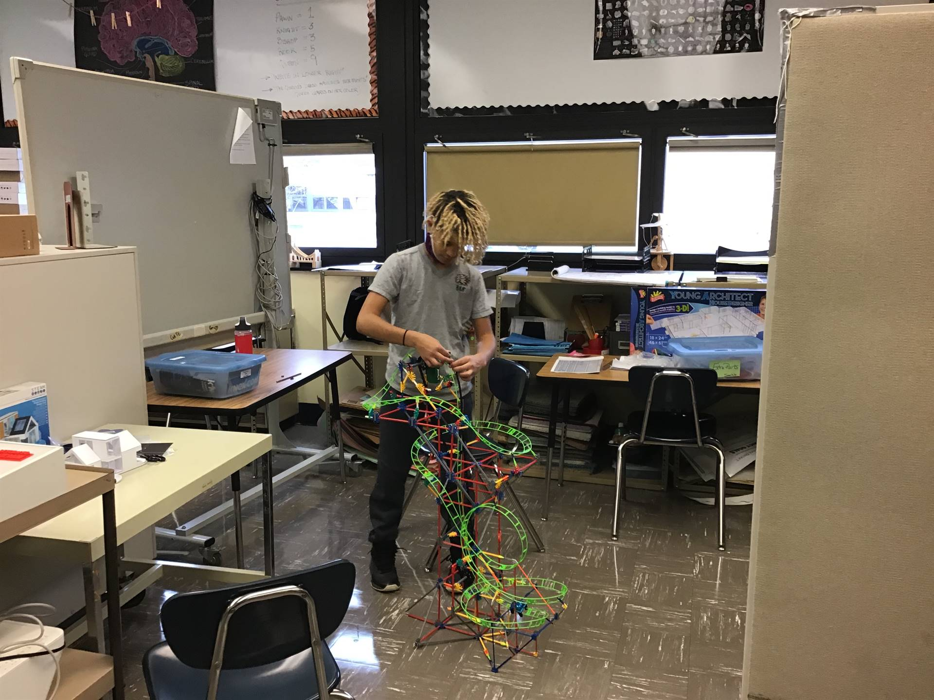 Student building a roller coaster