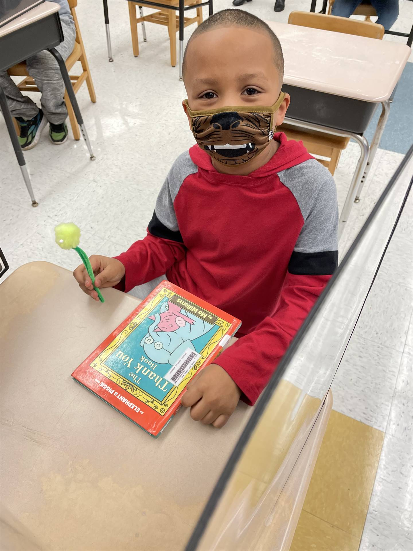 Student in library during Read Across America week