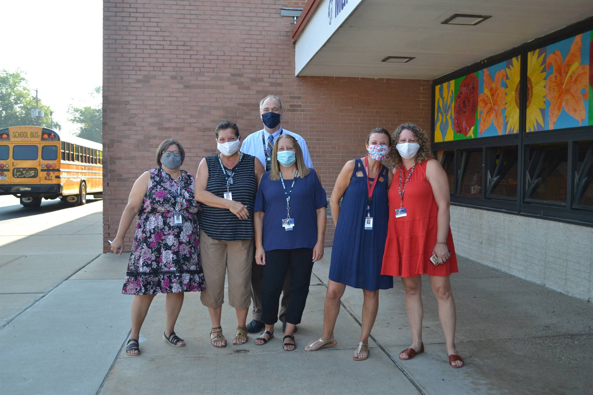Some Marzolf staff ready for the students to arrive for the first day