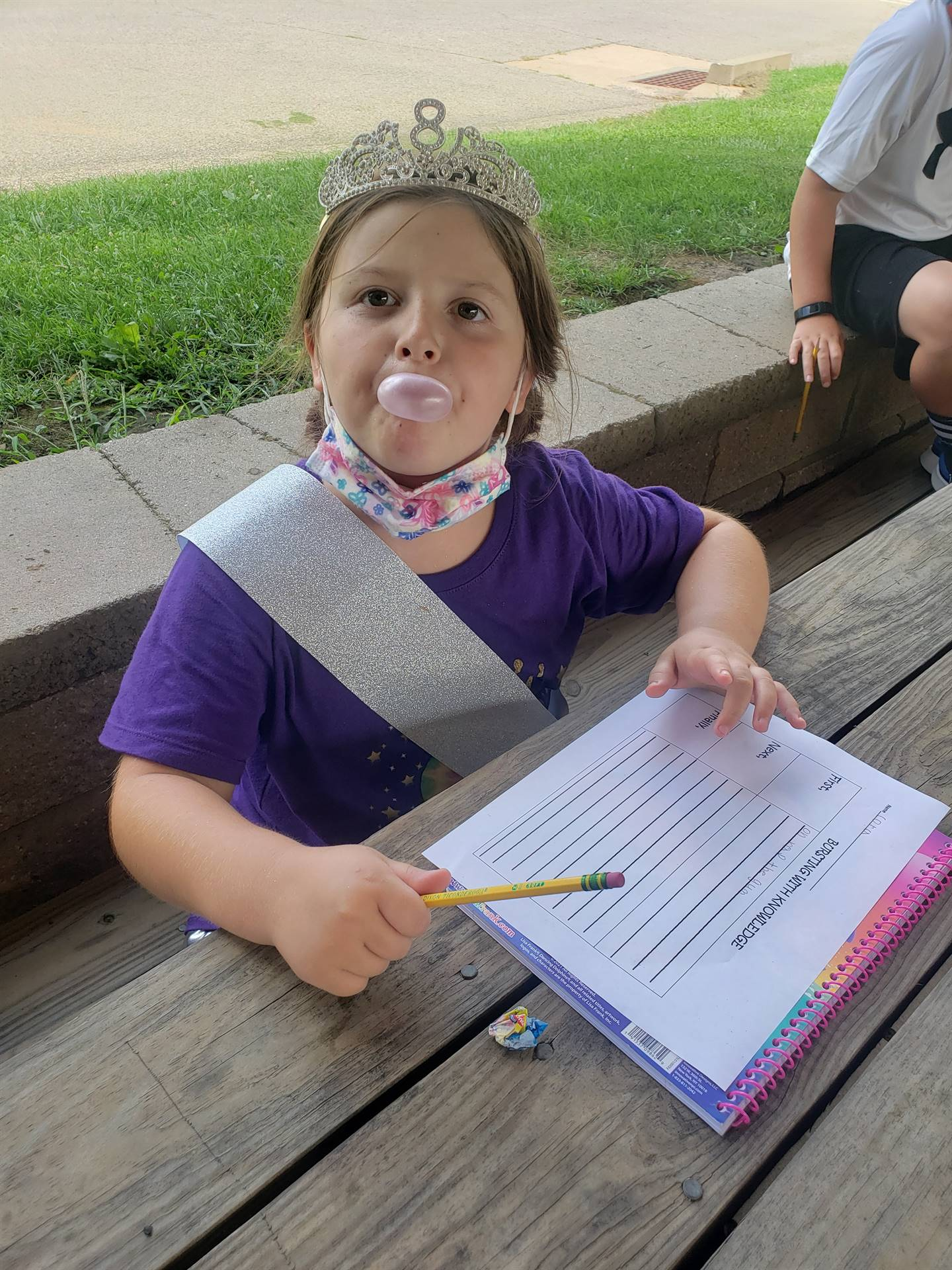 "Ms. Dugan's 3B class ""How to blow a bubble"""