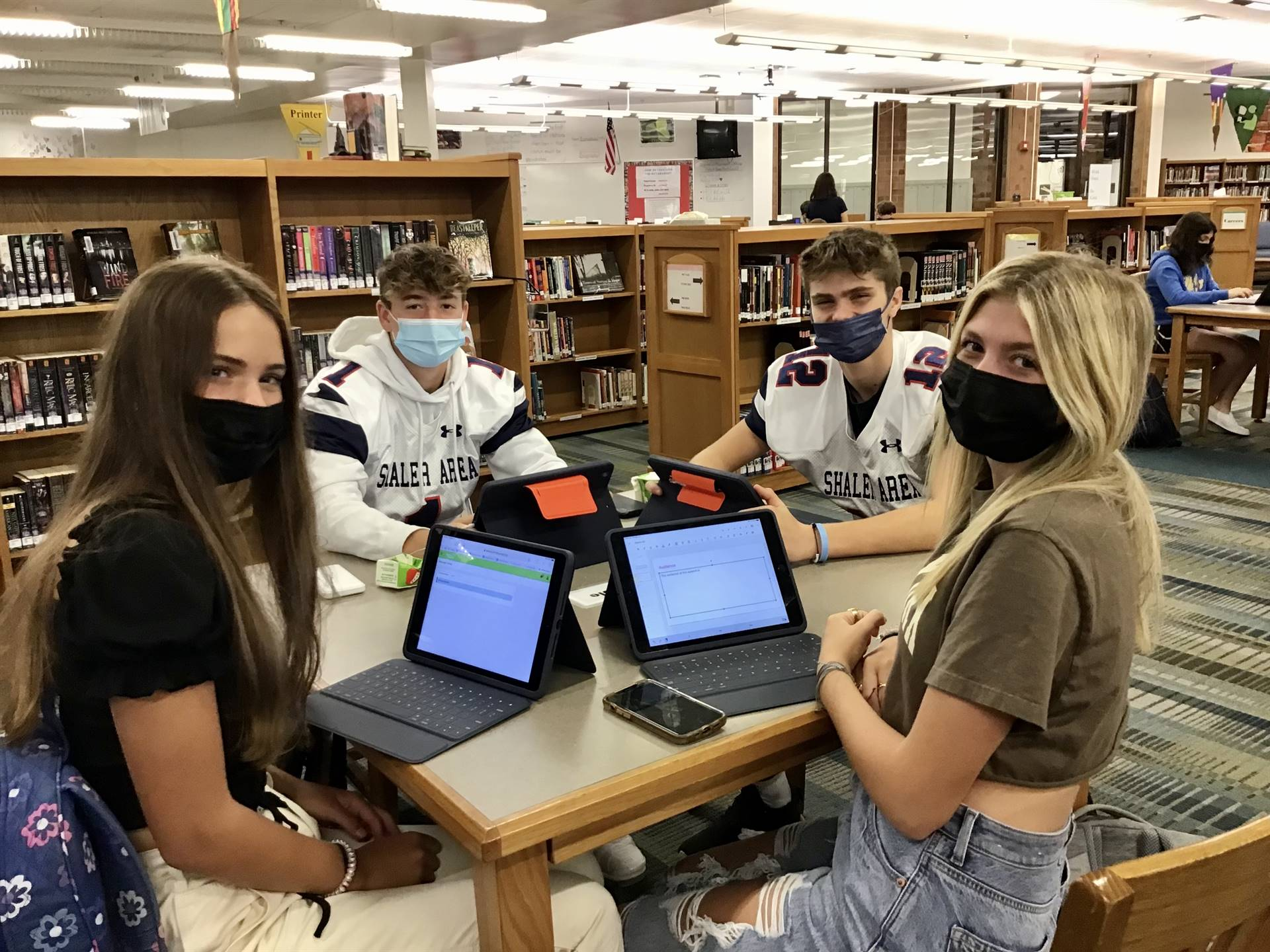 Students doing research