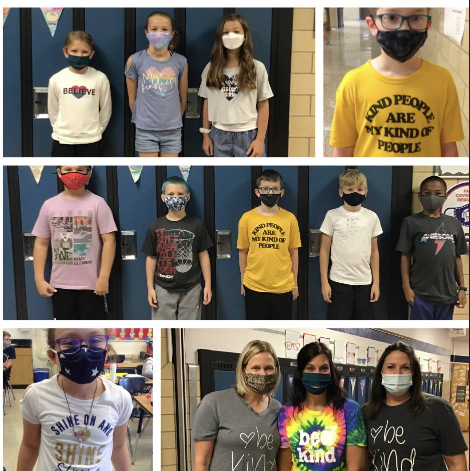 Students and staff wearing positive messages