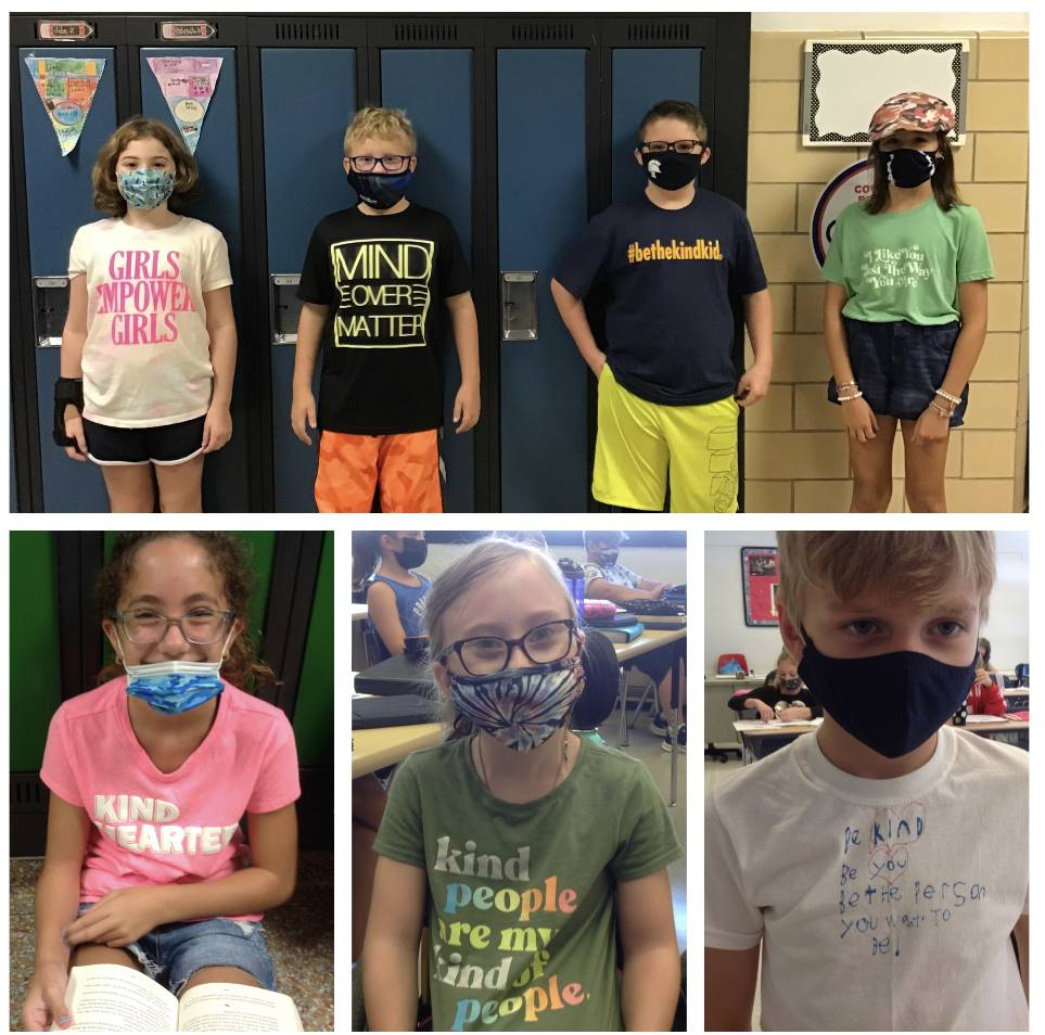 Students wearing positive messages