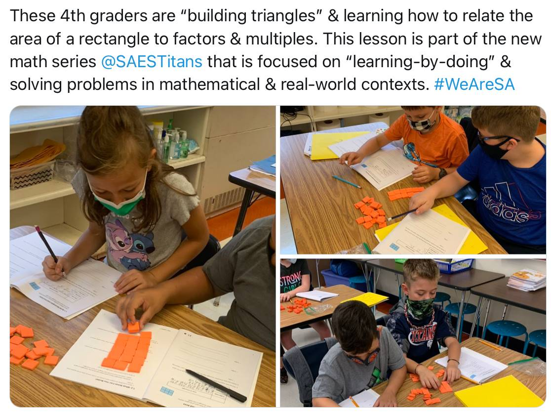 4th graders working on a math activity