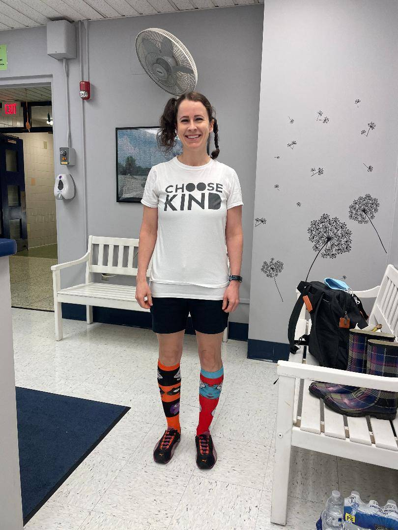 Mrs. DeAngelo dressed up for crazy hair and crazy sock day