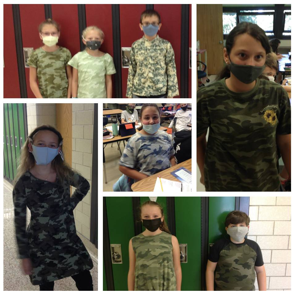 Students dressed for Camo day
