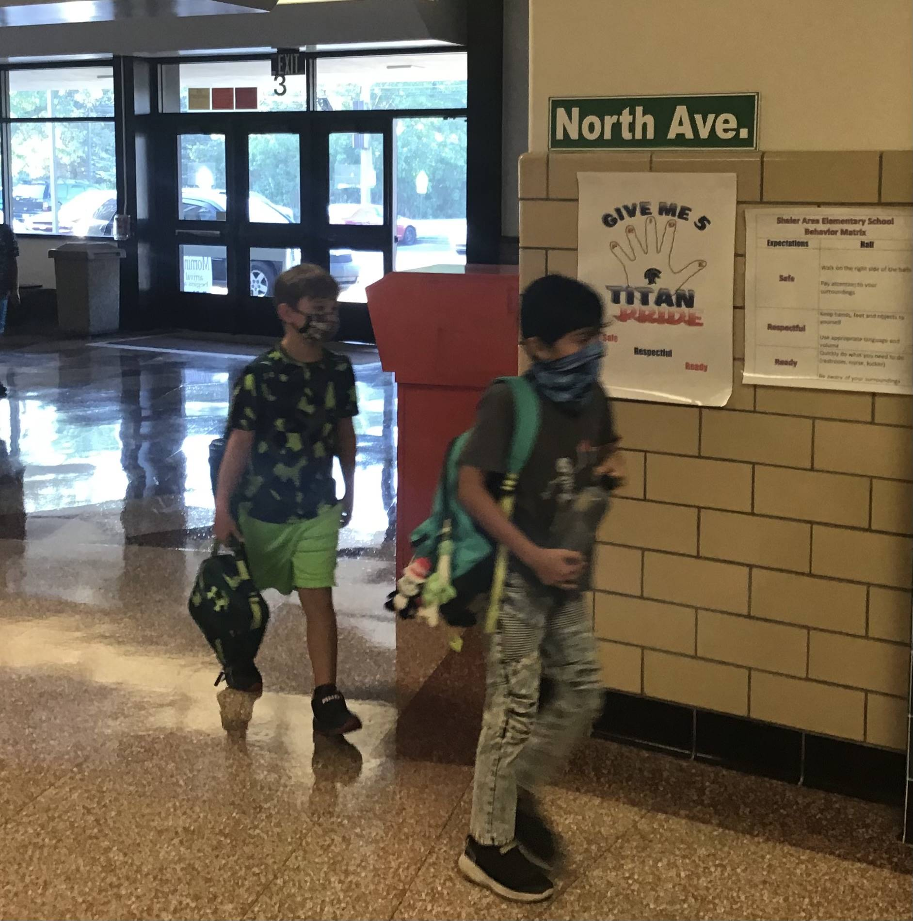 Students entering the school on the first day of school