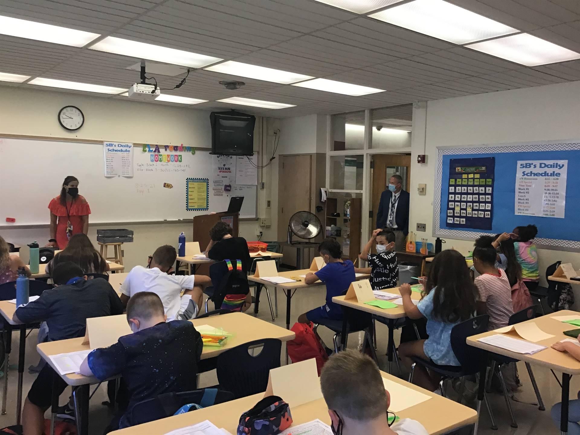 Dr. Aiken visiting a 5th grade classroom